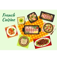 Fine french cuisine menu dishes vector image