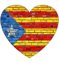 Flag of catalonia on a brick wall in heart shape vector
