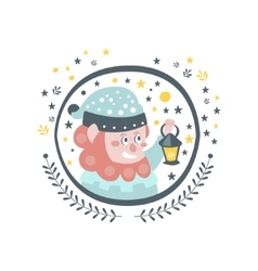 Gnome fairy tale character girly sticker in round vector