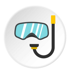 Goggles and tube for diving icon circle vector