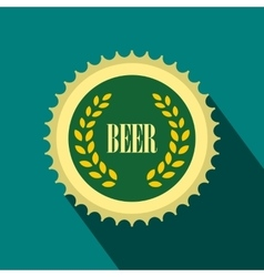 Green beer bottle cap icon flat style vector image