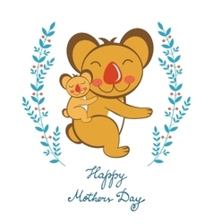 Happy Mothers day card with cute koalas mom and vector image