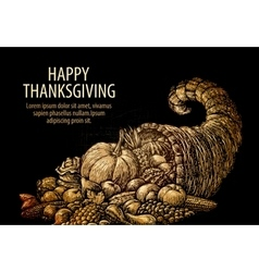 Happy Thanksgiving Horn of plenty Cornucopia vector image