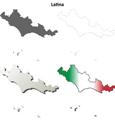 Latina blank detailed outline map set vector