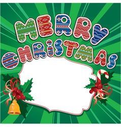 Merry Christmas Card with holly leafs and berries vector image