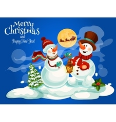 Merry Christmas New Year greeting card vector image