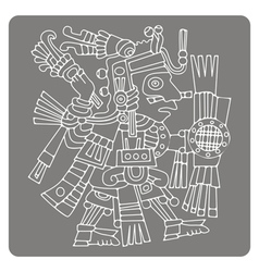 monochrome icon with symbols from Aztec codices vector image vector image