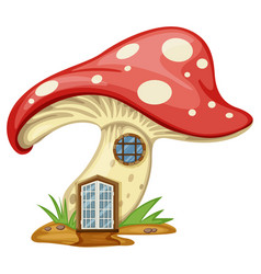 mushroom house with door and window vector image vector image