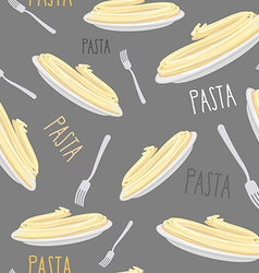 Pasta Seamless pattern Dish with noodles and fork vector image