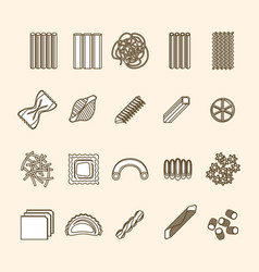 Pasta thin line icons set vector