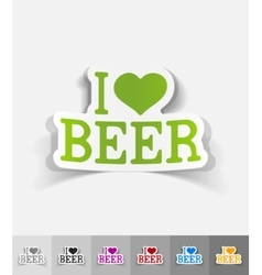 realistic design element I love beer vector image