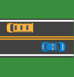 school bus and airport car moving on asphalt road vector image vector image