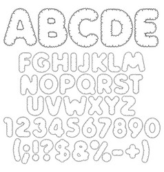 Shaggy alphabet letters numbers and signs vector