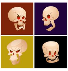 Skull bones human face halloween cards horror vector
