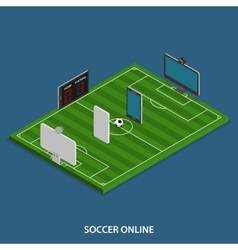 Soccer Online Isometric Concept vector image vector image