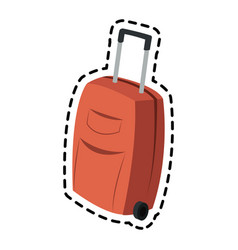 Suitcase with wheels luggage icon image vector