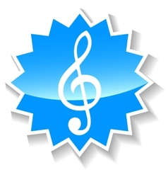 Treble clef blue icon vector