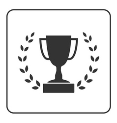 Trophy cup with Laurel wreath icon 3 vector image vector image