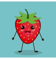 Strawberry fruit cartoon design vector