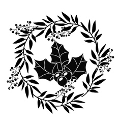 Berry with leaves of christmas season design vector