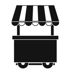 Food trolley with awning icon simple style vector