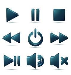 Black plastic navigation symbols set vector image