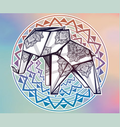 Geometric origami elephant with paisley ornament vector