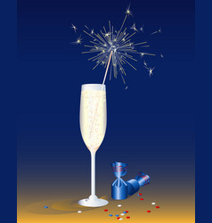 A glass of champagne and chocolates festive vector