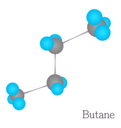 Butane 3d molecule chemical science cartoon style vector