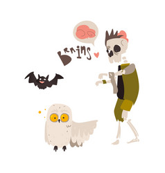 Zombie skeleton monster in rags and crazy owl vector
