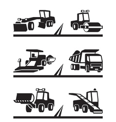 Road construction machinery vector