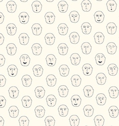 Cute seamless pattern with different facial vector