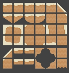 Tileset platformer brown ground vector