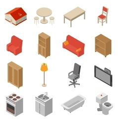 Interior isometric icons set vector