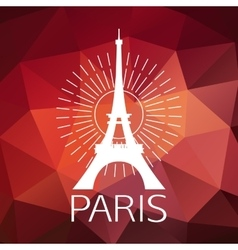 The eiffel tower label or logo over geometric vector