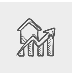 Residential graph increases sketch icon vector