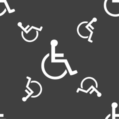 Disabled icon sign seamless pattern on a gray vector