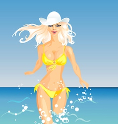 Beautiful blonde girl vector