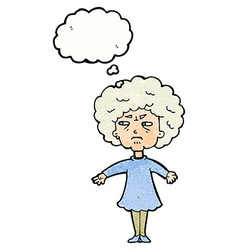 Cartoon bitter old woman with thought bubble vector