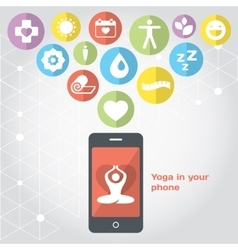 Yoga in your phone - healthy lifestyle vector