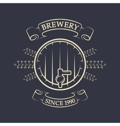 Craft brewing beer keg vintage emblem vector