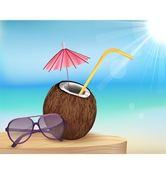 Summer beach glasses with young coconut vector