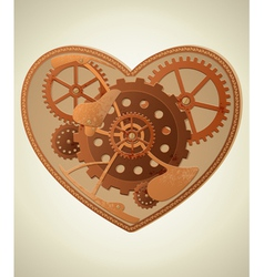 Mechanical heart in the style of steampunk vector