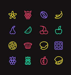 Fruit and desert icons in thin line style vector