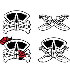 Pirate symbol with skull vector