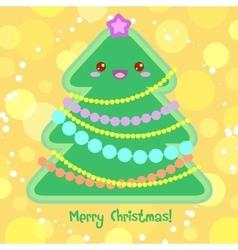 Christmas card with christmas tree in kawaii style vector