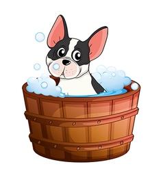 A dog taking a bath vector image vector image