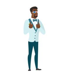 African groom watching movie in 3d glasses vector