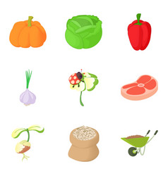Agricultural enterprise icons set cartoon style vector