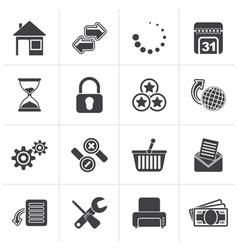 Black web site and internet icons vector